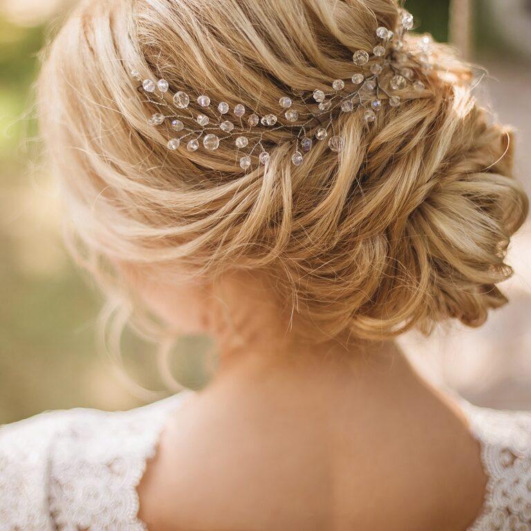 Hair do with an elegant bridal hair accessorie